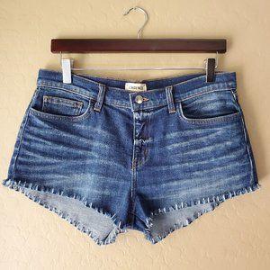 L'AGENCE Zoe Cut Off Frayed Hem Denim Shorts